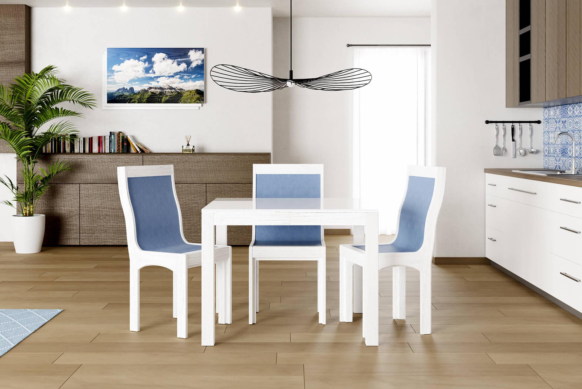 Tavolo quadrato allungabile aperto