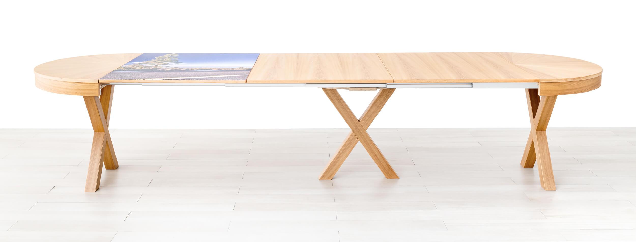 Tavolo rotondo allungabile aperto